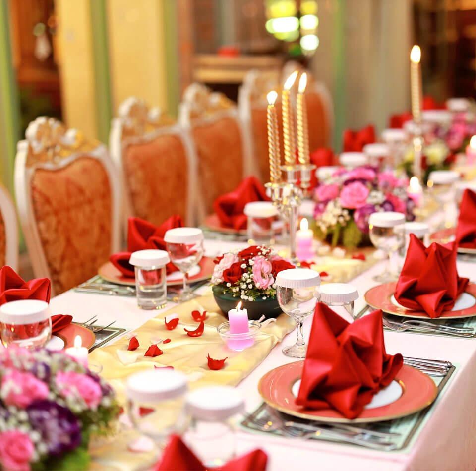 Romantic candle light feast